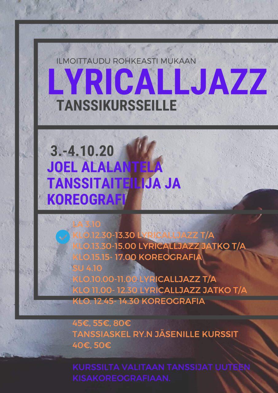 Joel Alalantela on freelancer tanssija-koreografi ja tanssinopettaja, jonka teokset ovat olleet suomen kärkeä jo useampia vuosia. Hän on valmistunut Tampereen konservatoriosta ammattitanssijaksi pääaineena jazz -ja nykytanssi. Vuonna 2012 hän tanssi tiensä finaaliin Nelosen Dance -ohjelmassa.Tanssijan työtä hän on jatkanut niin teatterien musikaaleissa (mm. TTT ja Oulun kaupunginteatteri) sekä Scandinavian Dancers -ryhmässä, jonka kanssa hän on tehnyt showta Silja Linen laivoilla.  Tällä hetkellä Joel tekee opetusten lisäksi koreografioita, nykytanssiteoksia ympäri Suomea sekä toimii tanssijana Tanssiteatteri MD:llä. Hän on vaikuttanut erityisesti edistyneiden ja ammattilaisten opettajana ja koreografina.   Kuva: Jussi Säilä